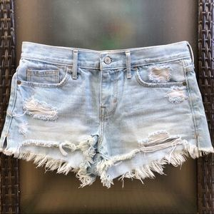 A&F High Rise Distressed Denim Short Shorts